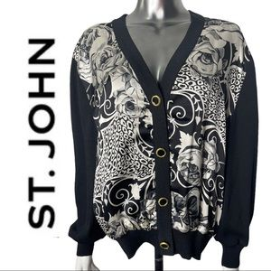 St John Sportswear Button Front Cardigan Contrast Front Fabric